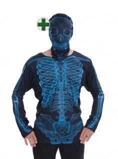 Fotorealistisch Shirt Skelett Halloween-Kostüm Fasching Karneval KK