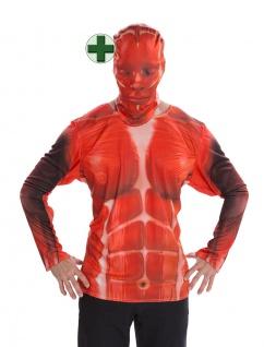 Fotorealistisch Shirt blutiges Skelett Halloween-Kostüm Fasching Karneval KK