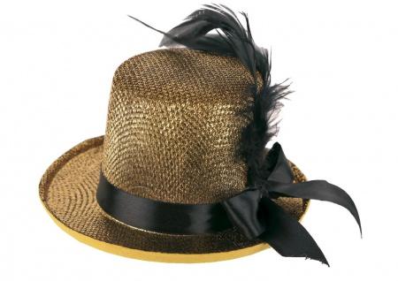 Mini-Zylinder Damen gold Mini-Hut Zylinder-Hut Damen-Hut Silvester Karneval KK