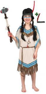 Indianer Kostüm Kinder Indianerin Mädchen-Kostüm Squaw Stirnband beige blau KK