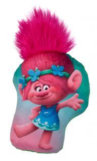 Kissen Trolls Poppy mit Haar, Dekokissen Kuschelkissen