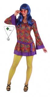 Flower Power Kostüm Hippie Damen 60er Jahre Woodstock Peace Kette Karneval KK