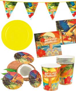 Party Set Hawaii Beach gelb 33 St. :Teller, Becher, Servietten, Schirmchen, Girlande