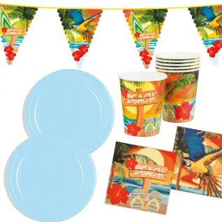 Party Set Hawaii Beach Ara blau 27 St. : Teller, Becher, Servietten, Wimpelkette
