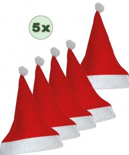 Weihnachts-Mütze Weihnachtsmann Nikolaus Weihnachten Weihnachtsfeier 5 St. Filz