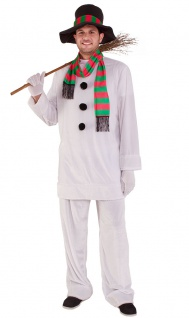 Schneemann Kostüm Erwachsene mit Hut Schal Olaf Damen Herren Fasching Karneval K