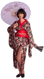 Geisha Kostüm Damen Japanerin Kimono mit Gürtel Chinaschirm Damenkostüm Fasching