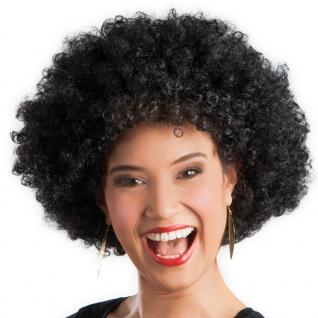 Karneval Klamotten Kostüm Perücke Afro schwarz Zubehör Disco Karneval