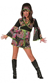 Flower Power Hippie Kostüm Damen 60er 70er Jahre Kleid Damenkostüm Fasching KK