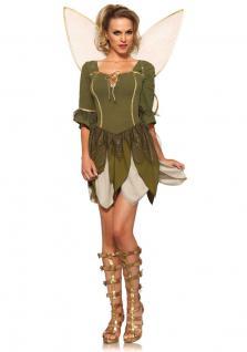 Fee Kostüm Damen Waldfee Kostüm Luxus Elfe Damen sexy Kleid inkl. Feen-Flügel KK