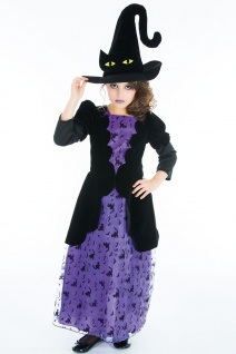 Hexenkostüm Kinder Mädchen Fledermaus Prinzessin Hexenhut Halloween Fasching KK