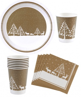 Party Set Deko Silvester weiß gold Weihnachten 32 Teile Teller Becher Servietten