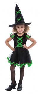 Kostüm Hexe Kinder Hexenkostüm kurzes Hexenkleid grün schwarz Hexenhut Halloween - Vorschau