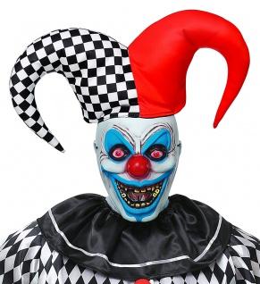 Horror-Clown Maske Nar Halbmaske mit Hut Killer-Clown Halloween-Maske Karneval K