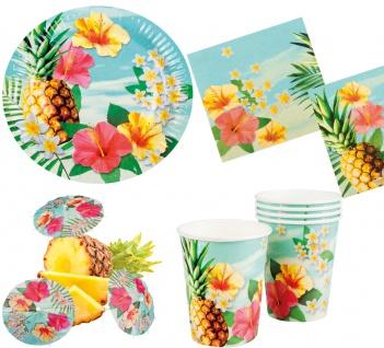 Sommer Party Deko Set Hawaii Blume 30: Teller Becher Servietten C-Schirmchen