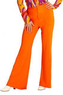 Hippie Hose Damen Kostüm orange Flower Power Hose 70er 80er Jahre Schlaghose KK