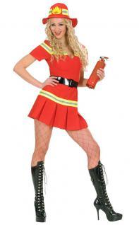 Feuerwehrfrau Kostüm Damen Feuerwehr Uniform Kleid rot Karneval Damenkostüm KK