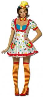 Clown Kostüm Damen sexy Kleid bunt mit Hut und Fliege Zirkus Fasching Karneval K