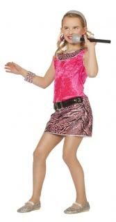 Disco Kostüm Mädchen Kleid pink Rockstar Popstar Karneval Fasching KK