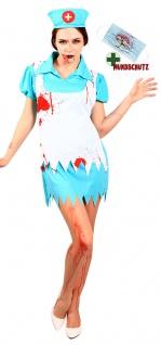 Horror Kostüm Damen Krankenschwester Blut Halloween Blutige Mundschutz Maske KK