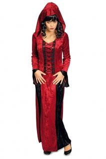 Vampir Kostüm Damen Vampir-Kleid mit Kapuze Gothic Damenkostüm Halloween KK