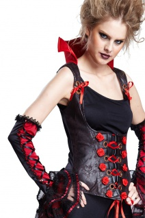 Vampir Kostüm Damen Damenkostüm Gothic Korsage Kostüm mit Stehkragen Halloween K