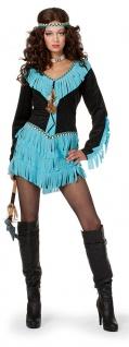 Indianer Kostüm Damen Kleid Squaw Indianerin Apache schwarz-türkis Fasching KK