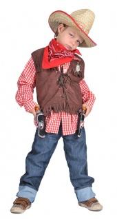 Cowboy Kostüm Kinder Cowboy-Weste braun mit Fransen Jungen Western Karneval KK