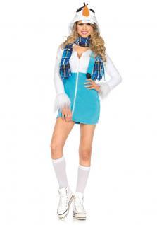 Schneemann Kostüm Damen-Kostüm Schneefrau Luxus Weihnachten Erwachsene Schal KK