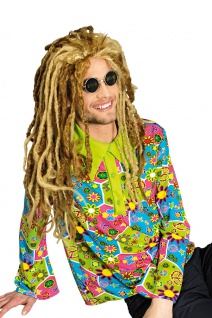 buntes Hippie Hemd Flower Power 60er 70er Jahre Love and Peace Herren Kostüm KK