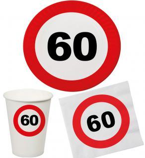 Party Set 32 Teile Geburtstag 60 Jahre Verkehrsschild