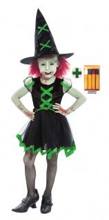 gruseliges Hexenkostüm Kinder Mädchen schwarz grün Hexenhut Schminke Halloween