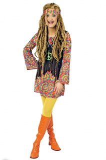 Hippie-Kleid Damen Kostüm Flower Power 60er 70er Jahre Stirnband Fasching KK