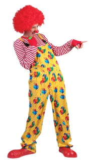 Clown Latzhose Hose Clownkostüm gelb mit Ballons Herrenkostüm Fasching Karneval