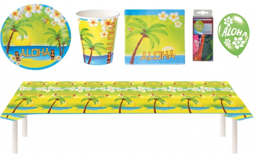 Party Set XXL Hawaii Sommer Aloha 49 Teile Teller, Becher, Servietten, Geschirr