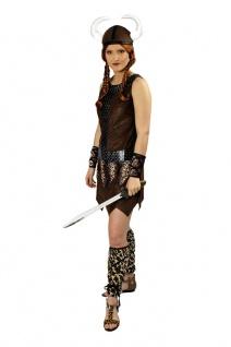 Wikinger Kostüm Damen Nordmann mit Wikingerhelm Viking Fasching Karneval KK