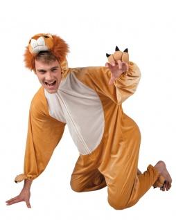 Löwenkostüm Erwachsene Plüsch Löwe Overall Kapuze Tier Herrenkostüm Karneval KK
