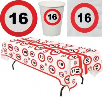 Geburtstags Party Set Deko 16 Jahre Geburtstag Partygeschirr Tischdecke 33 Tlg.