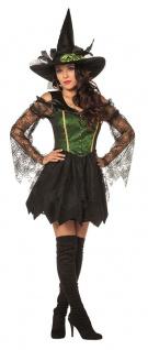 Hexen-Kostüm Damen Sexy Hexe Zauberin Magier grün schwarz Halloweenkostüm KK