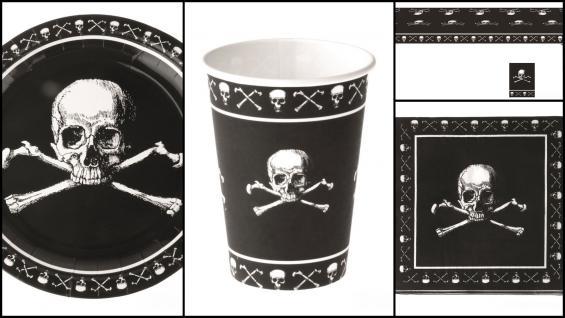 Set Kindergeburtstag Pirat 37 Teile schwarz mit Totenköpfen