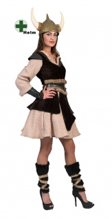 Wikinger Kostüm Damen Vikings Nordmann Barbarin Damenkostüm mit Helm Karneval KK