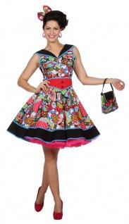 50er Jahre Kostüm Damen Kleid Rock n Roll Pop Art Damenkostüm Karneval Fasching