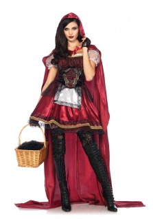 Rotkäppchen Kostüm Damen sexy hochwertig Märchen Kleid Umhang Karneval Fasching