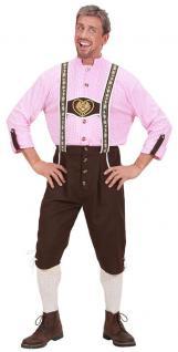 Oktoberfest Lederhose Herren Kostüm Trachtenhose und Hemd Bayern Herrenkostüm KK