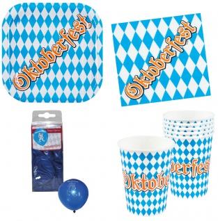 Oktober-Fest Deko Party Set Bayern Teller Becher Servietten Ballons 36 Teile KK