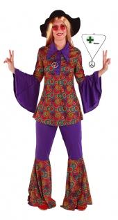 Flower Power Kostüm Hemd Schlaghose Damen Flower Power mit Peace Kette Fasching