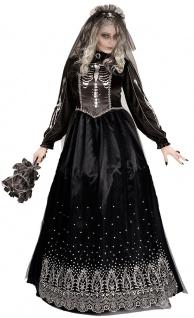 schwarze Braut Kostüm Damen Horror Damenkostüm mit Schleier Halloween KK