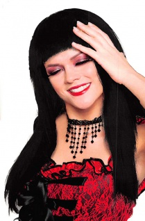 Langhaarperücke schwarz mit Pony glatt Damen-Perücke Karneval Fasching KK