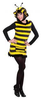 Bienenkostüm Damen sexy Biene Kleid Bienchen Plüsch mit Mütze Fasching Karneval