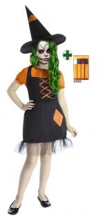 gruseliges Zombie Hexenkostüm Mädchen Hexenkleid Hut Schminke Halloweenkostüm